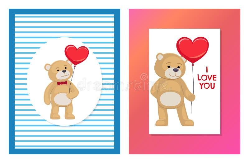 Jag älskar dig och mig Teddy Bears Vector royaltyfri illustrationer