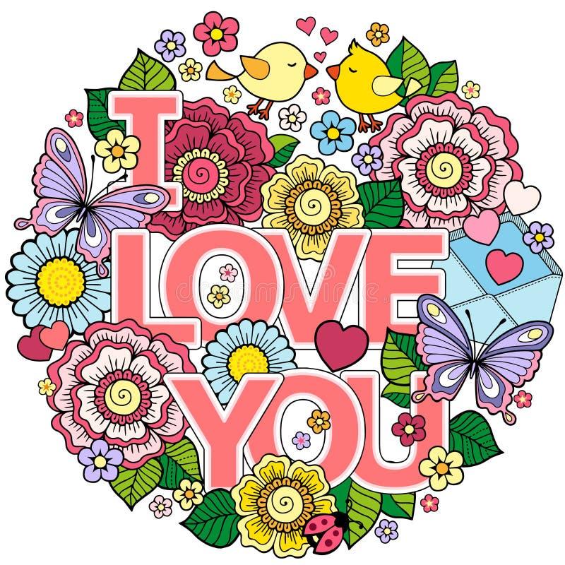 jag älskar dig Rund abstrakt bakgrund som göras av blommor, koppar, fjärilar och fåglar royaltyfri illustrationer