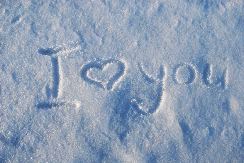 Jag älskar dig, snö arkivbild