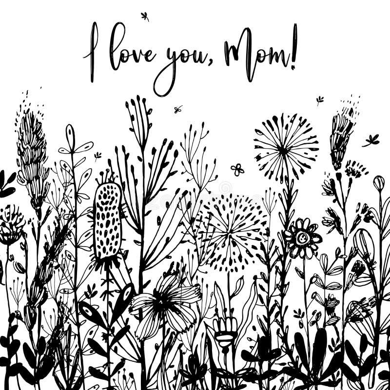 Jag älskar dig, svartvit bakgrund för mamman, berömemblemet, etikett Text kortinbjudan, mall också vektor för coreldrawillustrati royaltyfri illustrationer