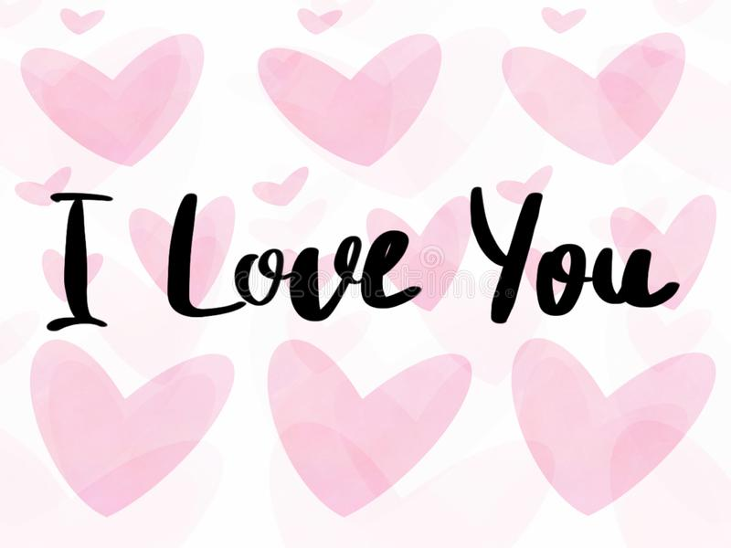Jag älskar dig text, skriftligt tecken för hand på rosa valentinhjärtor på isolerad vit bakgrund Lyckligt valentin kort för daghä royaltyfri illustrationer