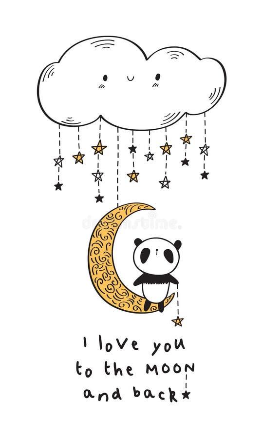 Jag älskar dig till månen Hälsningkort med den gulliga pandan royaltyfri illustrationer