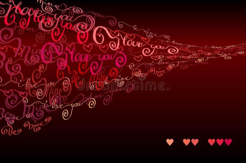 Jag älskar dig uttrycker bakgrund card min portfölj till valentinvälkomnandet royaltyfri illustrationer