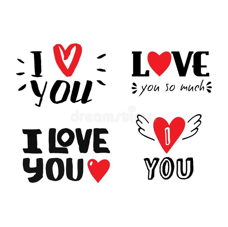 Jag älskar dig vektortext vektor illustrationer