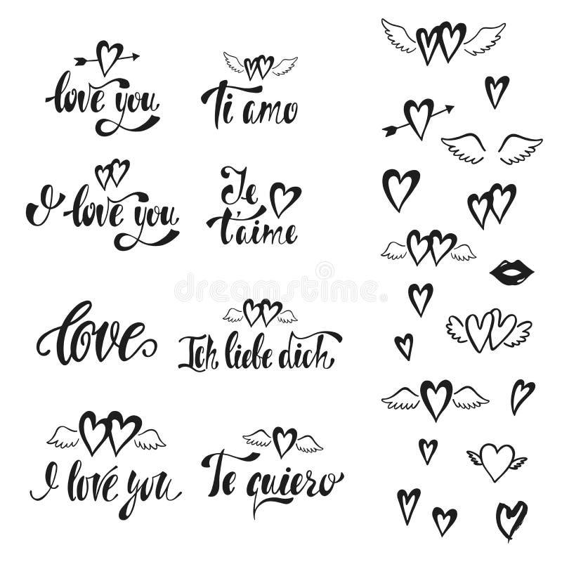 jag älskar dig Vektoruppsättning av hand drog bokstäveruttryck Romantisk typografidesign för valentindag vektor illustrationer
