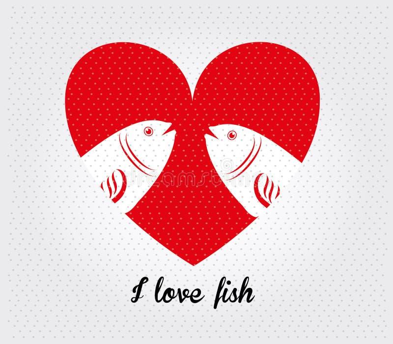 Jag älskar fisken royaltyfri illustrationer