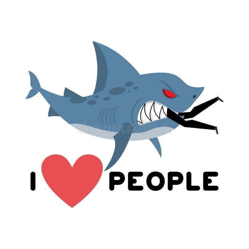 jag älskar folk Hajen äter mannen Lös havsrovdjur och man Lik I royaltyfri illustrationer
