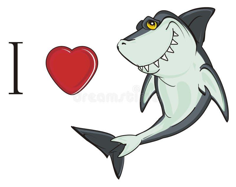 Jag älskar hajen vektor illustrationer