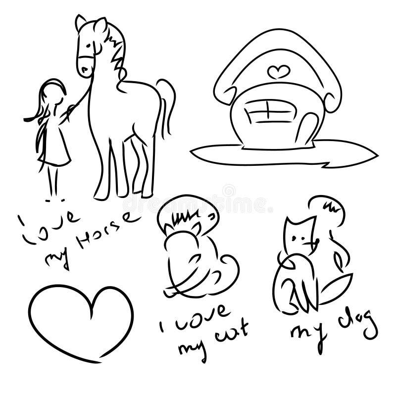 Jag älskar husdjur (uppsättningen av klotter) royaltyfri illustrationer
