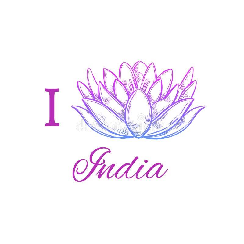 Jag älskar Indien Dragit begreppsmässigt tryck för vektor hand exponeringsbärbar datorlampa skissar stil Lotus yoga vektor illustrationer