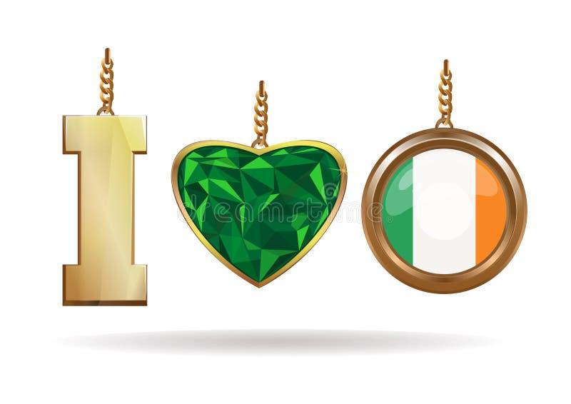 Jag älskar Irland Patriotiska smycken Smaragdhjärta i en guld- ram stock illustrationer