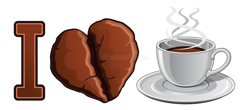 Jag älskar kaffe vektor illustrationer