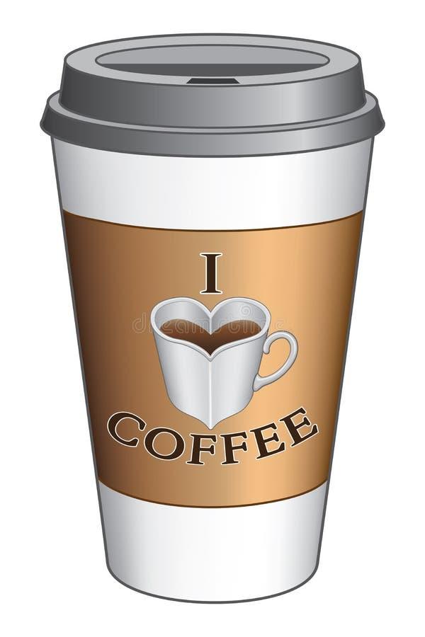 Jag älskar kaffe för att gå koppen royaltyfri illustrationer