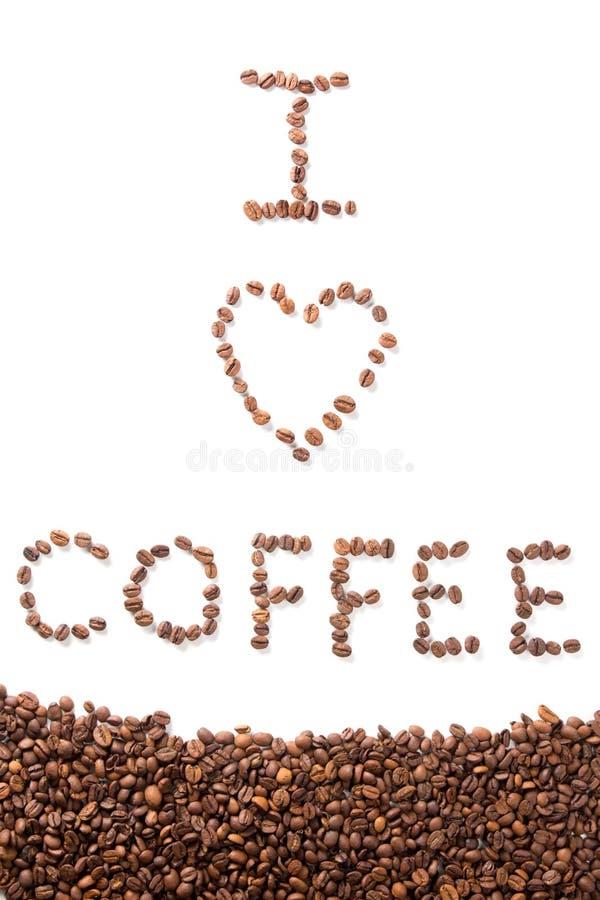 Jag älskar kaffe - text över vit arkivfoton