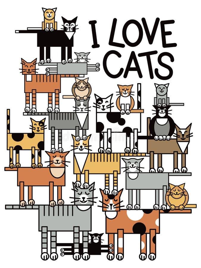 Jag älskar katter royaltyfri illustrationer