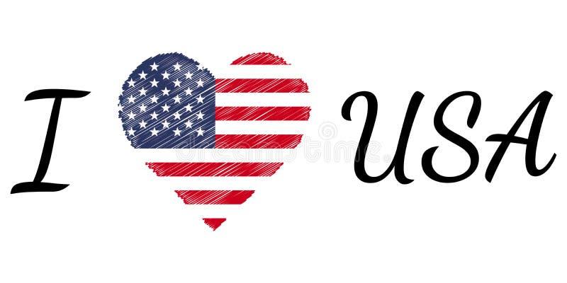 Jag älskar landet USA Amerika, texthjärtaklottret, calligraphic text för vektor, mig älskar för flaggahjärta för USA Amerika patr stock illustrationer