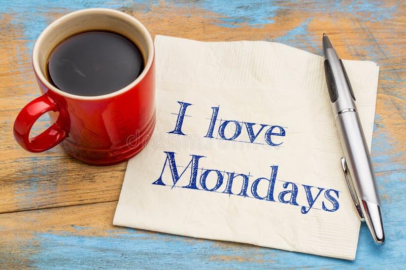 Jag älskar måndagar - servetten och kaffe royaltyfri fotografi