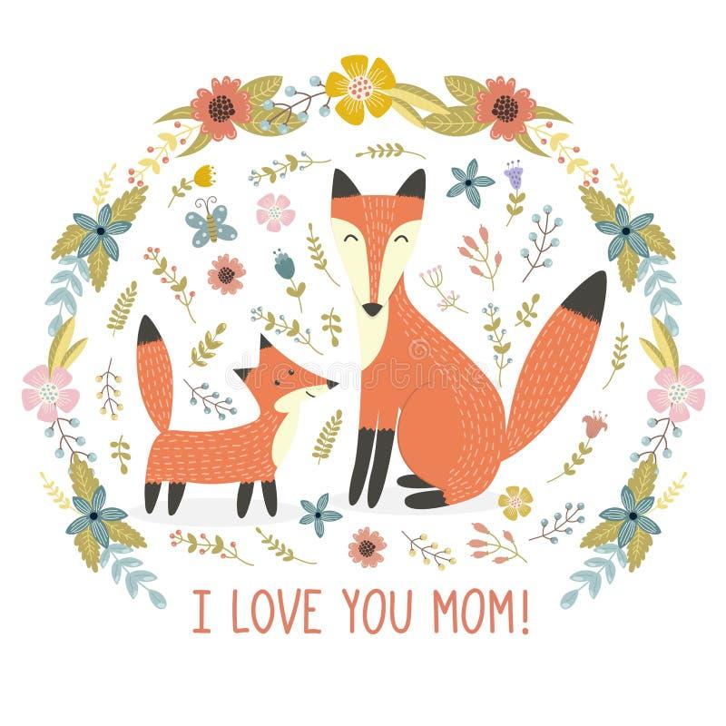 Jag älskar mammahälsningkortet med en moderräv, och hon behandla som ett barn vektor illustrationer