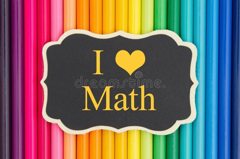 Jag älskar matematikmeddelandet med blyertspennafärgpennor stock illustrationer