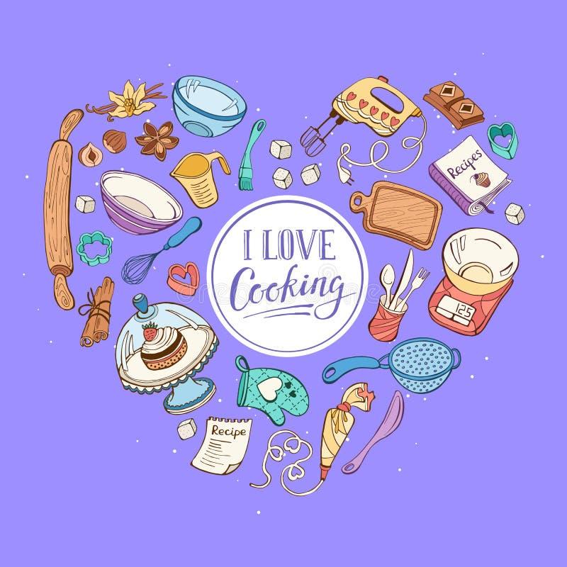 Jag älskar matlagningkortet royaltyfri illustrationer