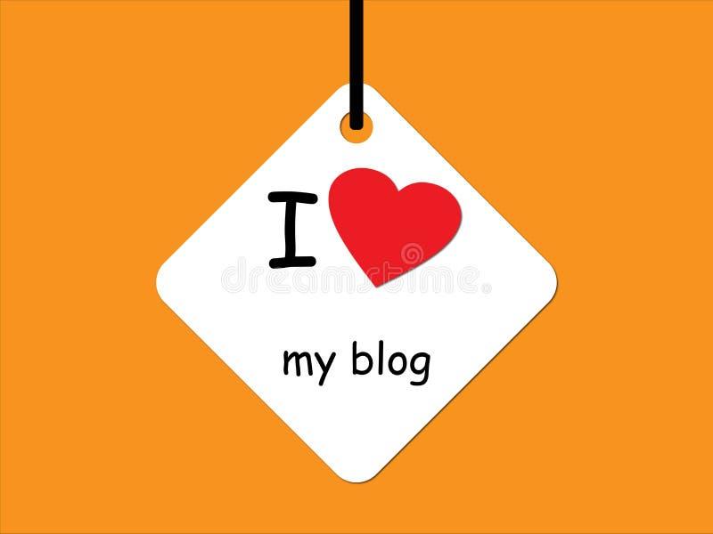 Jag älskar min blogg på orange royaltyfri illustrationer