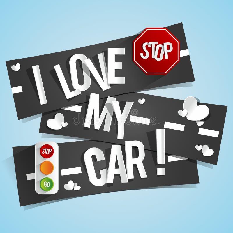 Jag älskar mina bilbaner stock illustrationer