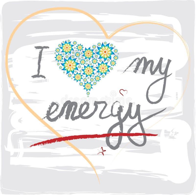Jag älskar mina energiord med hjärtor och bokstäver stock illustrationer