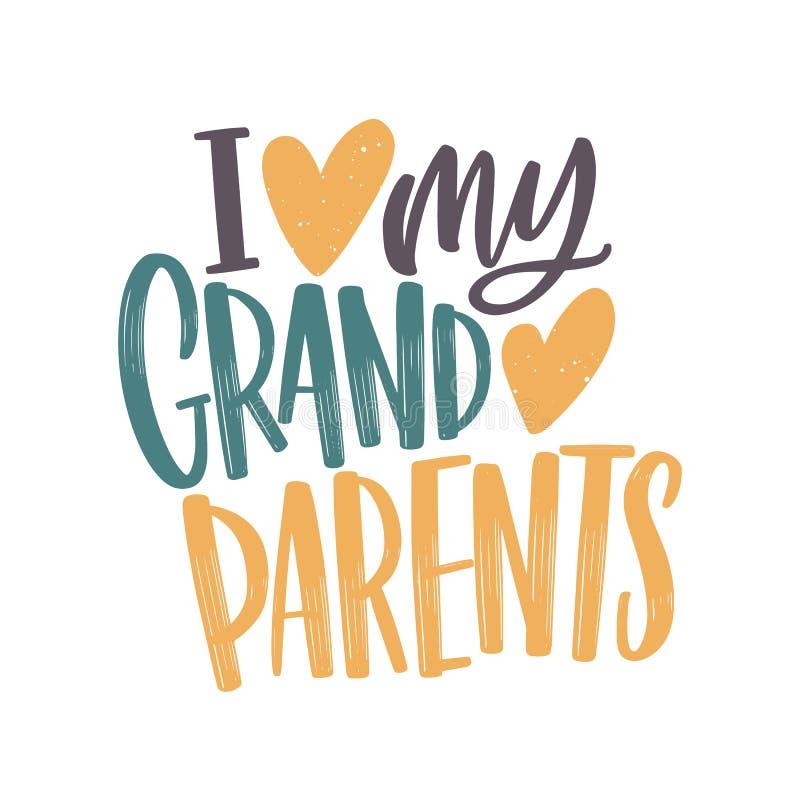 Jag älskar mitt morföräldermeddelande som är handskrivet med den eleganta kursiva stilsorten och dekorerar av hjärtor Ferietextsa royaltyfri illustrationer
