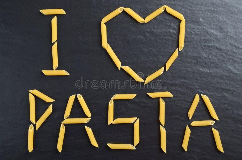 Jag älskar pastatecknet fotografering för bildbyråer