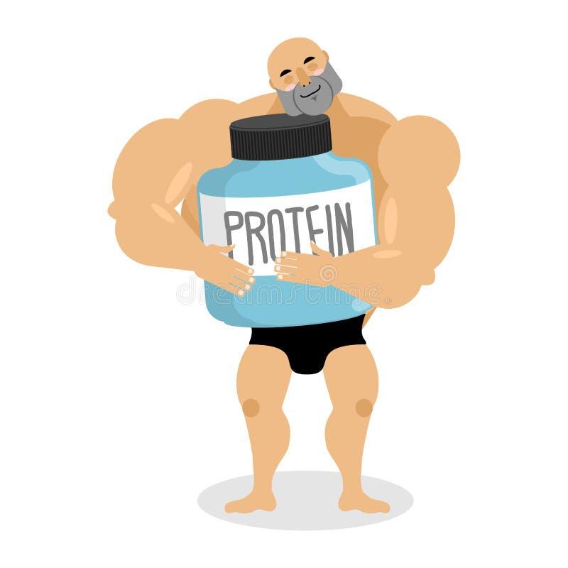 Jag älskar protein Idrottsman nen- och sportnäring Gullig kroppsbyggare vektor illustrationer