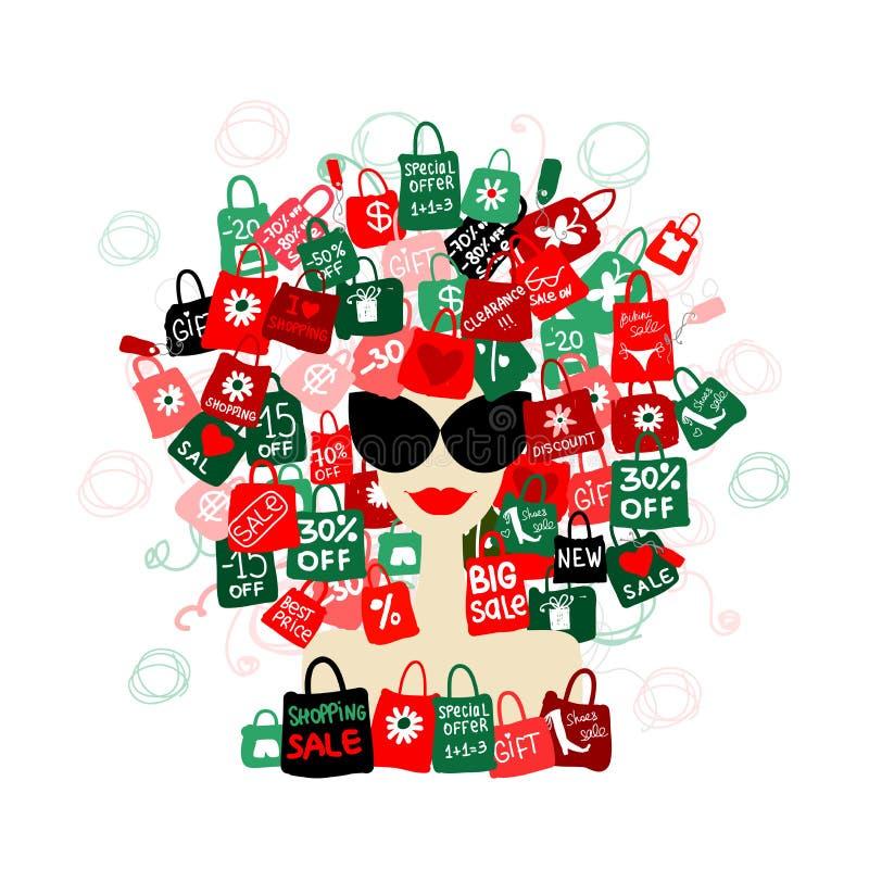 Jag älskar rea! Dana kvinnaståenden med shopping royaltyfri illustrationer
