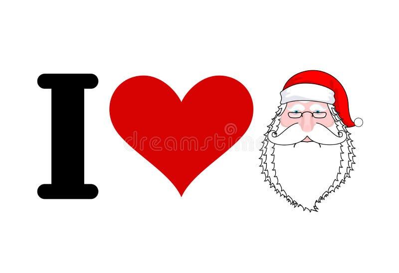 Jag älskar Santa Claus Hjärta och framsida av jultomten Jag gillar jul stock illustrationer
