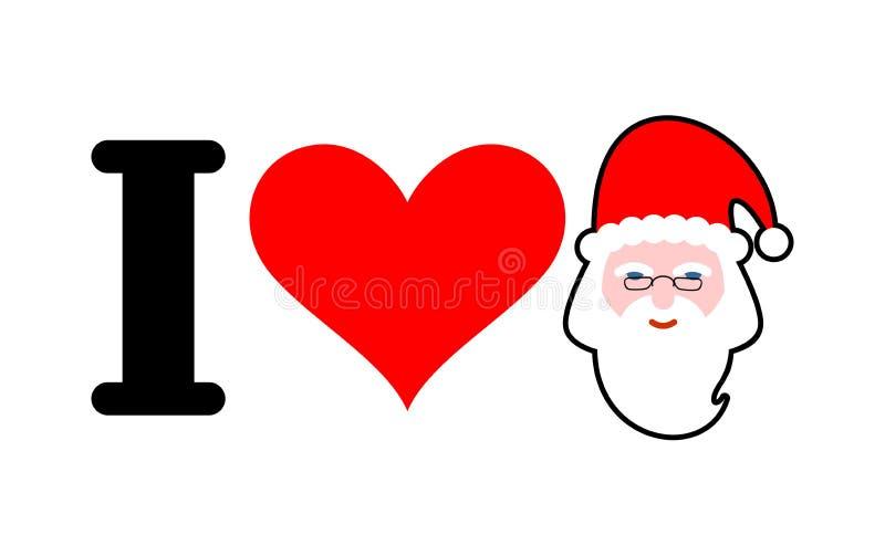 jag älskar santa Hjärta och framsida av Claus Jag gillar jul och nytt vektor illustrationer