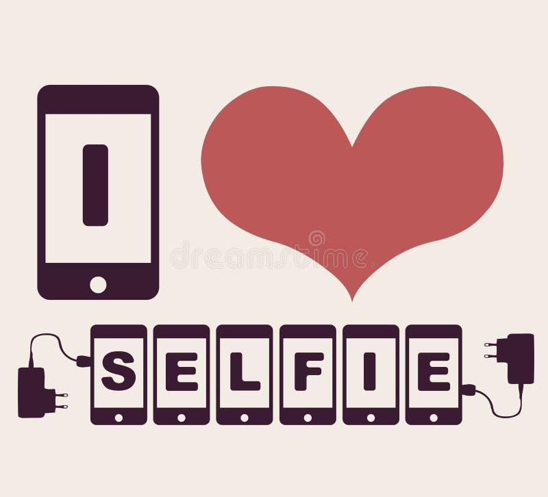 Jag älskar selfie royaltyfri illustrationer