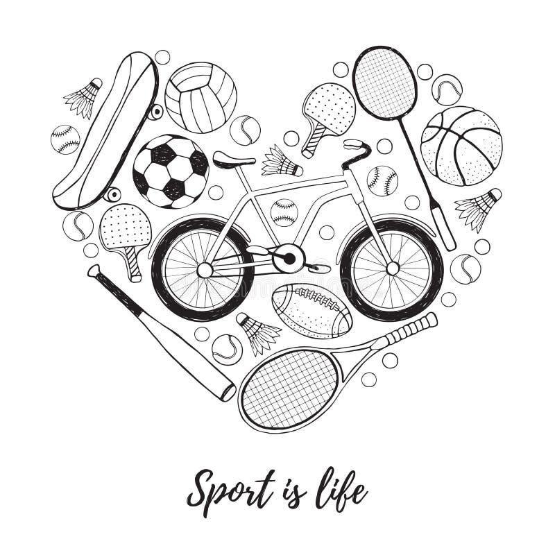 Jag älskar sportaffischen stock illustrationer