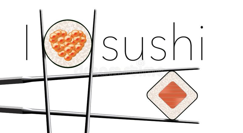 Jag älskar sushi är titeln av denna bild Här är en ren enkel blick på sushi- och kotlettpinnar stock illustrationer