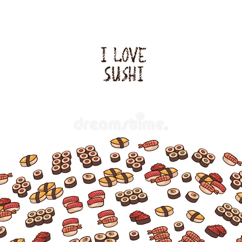 jag älskar sushi stock illustrationer