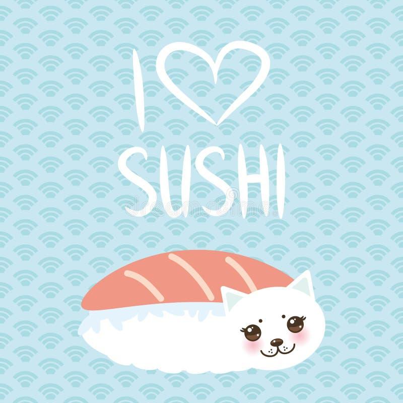 jag älskar sushi Kawaii rolig Maguro Toro sushi och vit gullig katt med rosa kinder och ögon, emoji Behandla som ett barn blå bak stock illustrationer