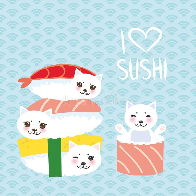 jag älskar sushi Kawaii rolig sushiuppsättning och vit gullig katt med rosa kinder och ögon, emoji Behandla som ett barn blå bakg vektor illustrationer