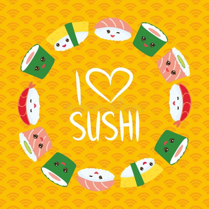 jag älskar sushi Kawaii ställde den roliga sushi in med rosa kinder och stora ögon, emoji Orange bakgrund med den japanska cirkel royaltyfri illustrationer