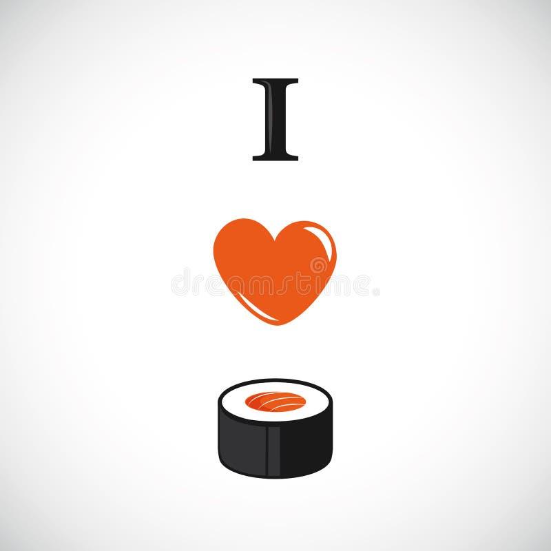 Jag älskar sushi med laxhjärtadesign stock illustrationer