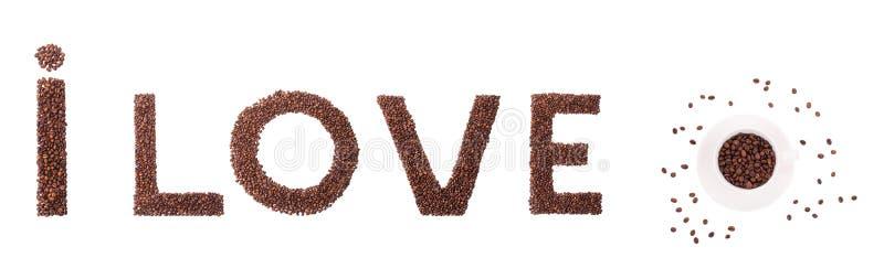 Jag älskar tecknet för kaffebönor royaltyfria bilder