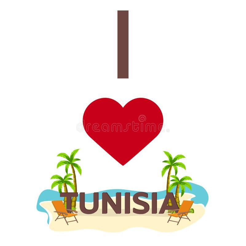 Jag älskar Tunisien Resor Gömma i handflatan sommar, vardagsrumstol Plan illustration för vektor royaltyfri illustrationer