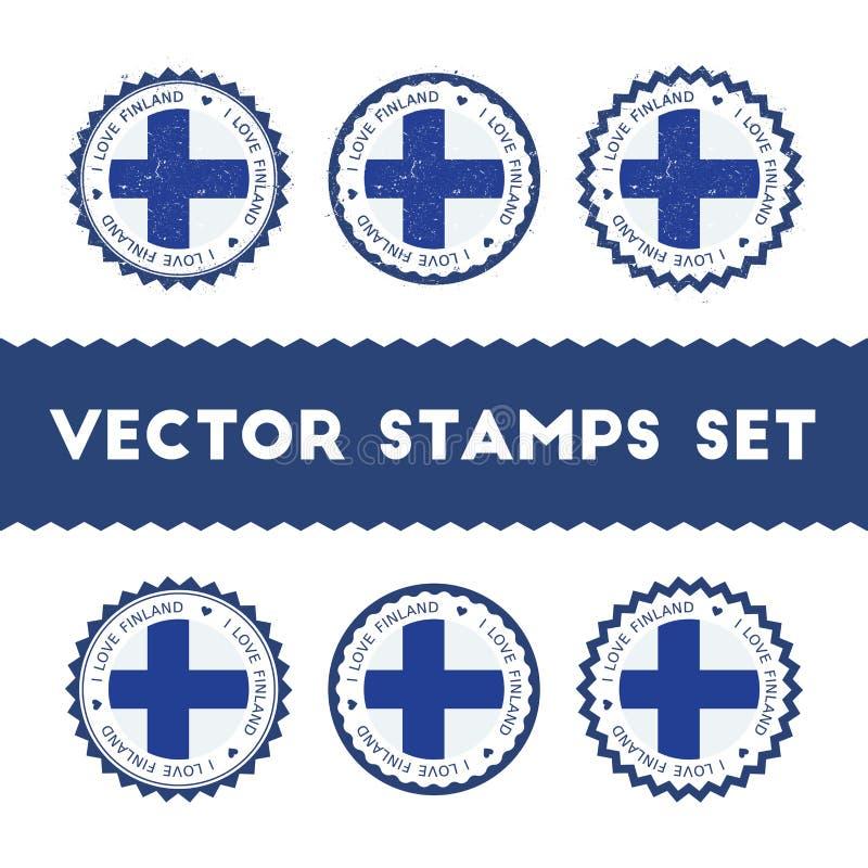 Jag älskar uppsättningen för Finland vektorstämplar vektor illustrationer