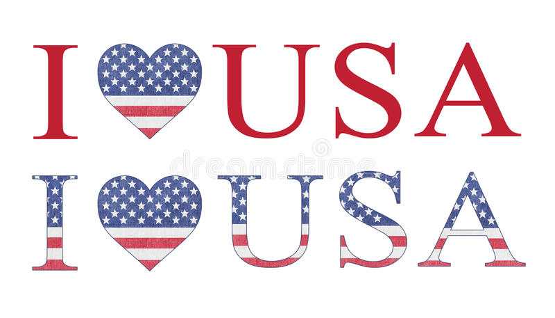 Jag älskar USA bokstäver och hjärta, flaggafärger royaltyfri fotografi