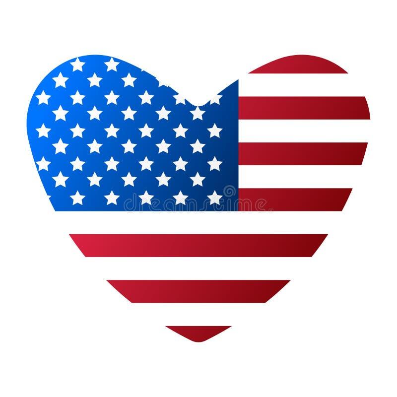 Jag älskar USA flaggasymbolen Lycklig 4 th Juli och självständighetsdagen den främmande tecknad filmkatten flyr illustrationtakve stock illustrationer