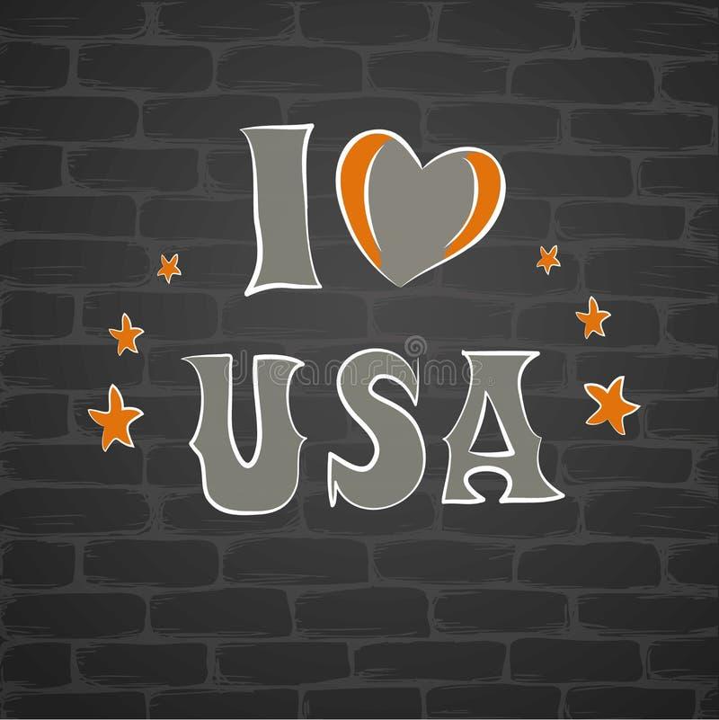 Jag älskar USAen, en inskrift på en tegelstenwa royaltyfri illustrationer