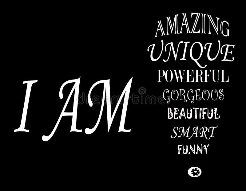 Jag är! vektor illustrationer