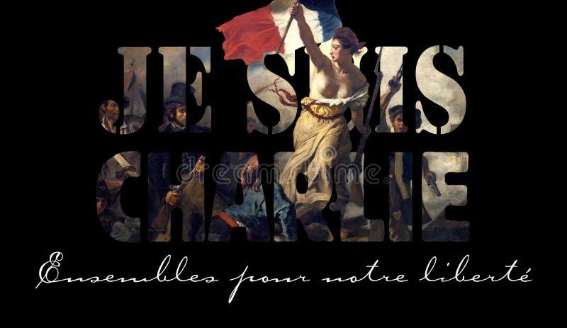 Jag är CHARLIE - (text i franskt) mars 11 Januari för serviceCharlie Hebdo tidskrift VI arkivfoton