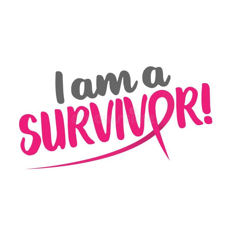Jag är en överlevandebröstcancer stock illustrationer